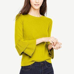 Ann Taylor Petite Yellow Ruffle Sleeve Sweater